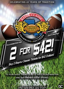 42nd Annual Bayou Classic - 2 for 42 Offer PR Flyer