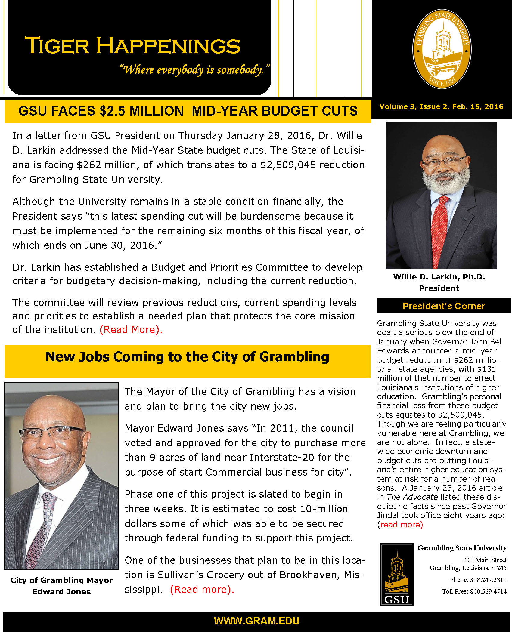 Tiger Happenings Newsletter, Volume 3, Issue 2, February 15, 2016
