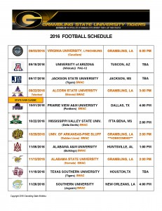 2016 Fall GSU Tigers Football Schedule