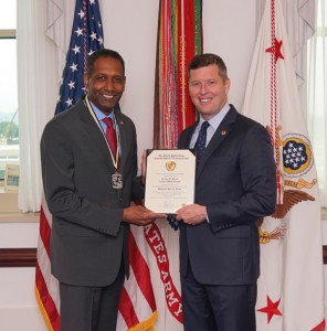 Jeremy M. Martin, Chief of Staff for the Assistant Secretary of Defense office, Pentagon, Washington, D.C., was recently presented his ROTC National Hall of Fame certificate and medal, by the Honorable Patrick Murphy, Under Secretary of the United States Army.