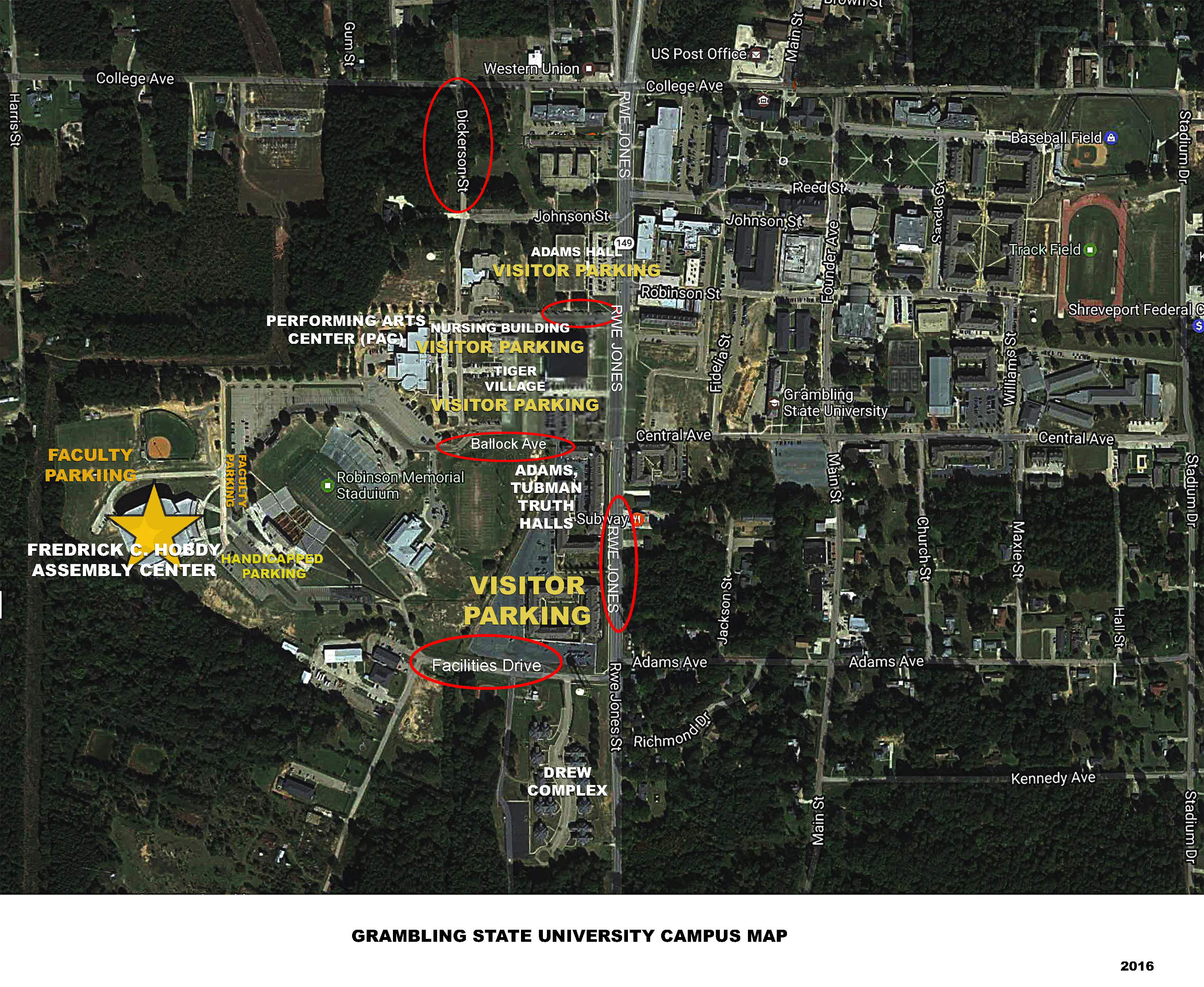 grambling state university campus map Grambling State University Parking Guidelines For Commencement grambling state university campus map