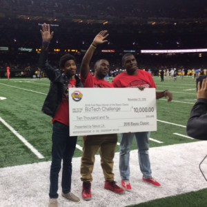 Barry Bontiff, Kenneth Tanner and Joshua Anderson won the Bayou Classic Biz Tech Challenge.