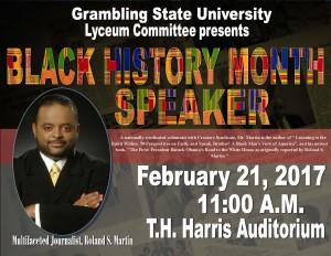 GSU Lyceum Committee Black History Month Speaker - Feb. 21, 11am T.H. Harris Auditorium