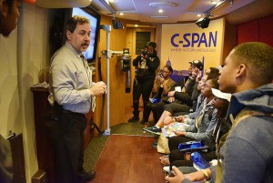GSU students listen during a recent C-SPAN bus visit on campus during the HBCU Campus Tour