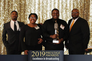 Pictured (left to right): Students Kamau Dangerfield, Christiana Essien, Maurice Tandy-Patton and Charleston Talbert, operations manager for KGRM, the Grambling State University campus radio station.