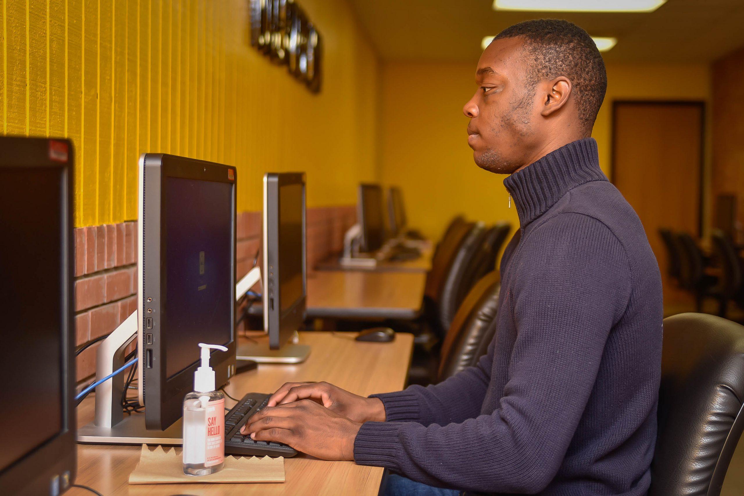 GSU Student on Lab Computer