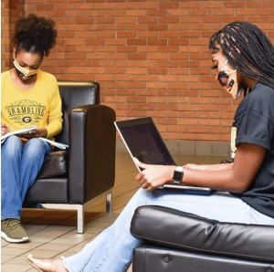 Students studying in student union