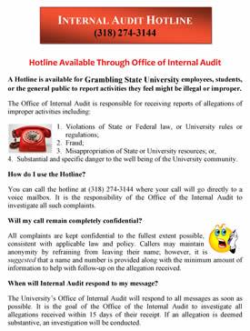 Internal Audit Hotline Flyer