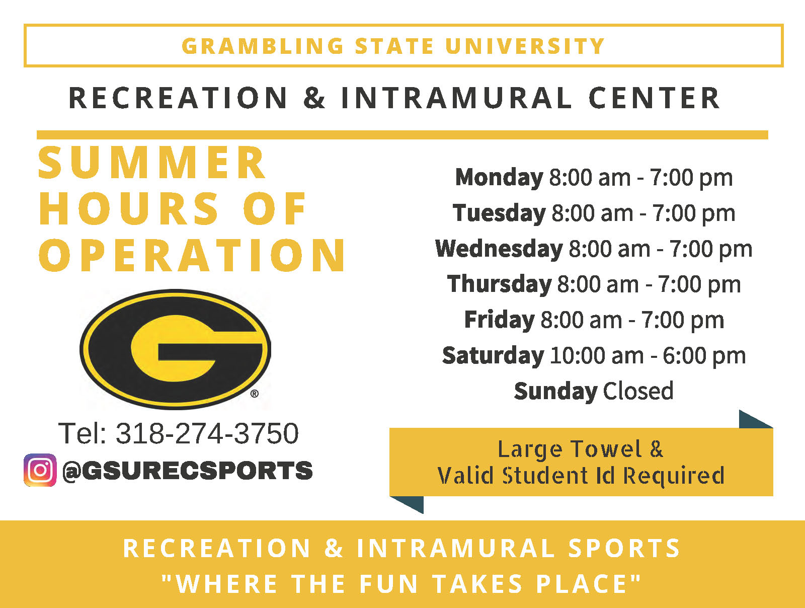 Intramural Center Hours - Summer 2017 Flyer